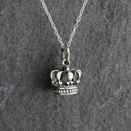 Tiny 3D Crown Charm Necklace - 925 Sterling Silver