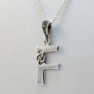 Sterling Silver Celtic Initial Letter F Necklace