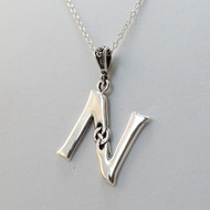 Sterling Silver Celtic Initial Letter N Necklace