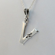 Sterling Silver Celtic Initial Letter V Necklace