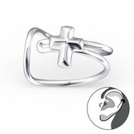 Cross Ear Cuff - Sterling Silver