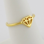 Diamond Shape Ring - Gold Plated Sterling Silver
