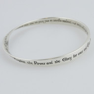 The Lord's Prayer Mobius Bangle Bracelet - Sterling Silver