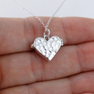 Hammered Heart Locket Necklace - 925 Sterling Silver