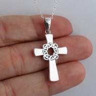 Celtic Knot Cross Pendant Necklace - 925 Sterling Silver