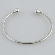 "7"" Sterling Silver Charm Cuff Bangle Bracelet"