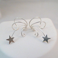 Shooting Star Ear Cuff Earrings - 925 Sterling Silver