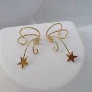 Shooting Star Ear Cuff Earrings - 24k Gold Plated Sterling Silver