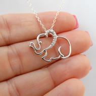 Elephant Necklace - 925 Sterling Silver, CZ