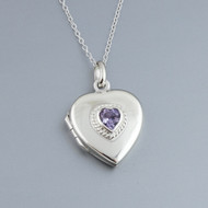 Heart Locket - Sterling Silver with Purple CZ