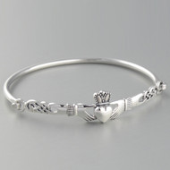 Claddagh Heart Bangle Bracelet - 925 Sterling Silver