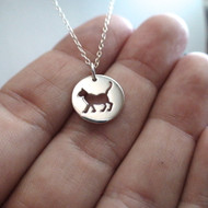 Cat Cutout Charm Necklace - 925 Sterling Silver