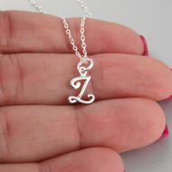 Tiny Initial Letter Z Necklace - Sterling Silver