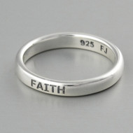 Engraved FAITH Stacking Ring - Sterling Silver
