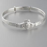 Baby Claddagh Adjustable Bangle Bracelet in Sterling Silver