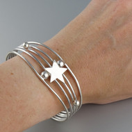 Star Cuff Bracelet - 925 Sterling Silver