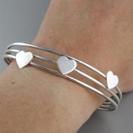 Hearts Cuff Bracelet - 925 Sterling Silver