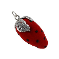 Strawberry Pin Cushion Antique Sewing Replica - Sterling Silver