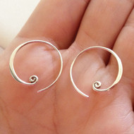 Sterling Silver Curled Hoop Earrings