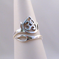 Lotus and Om Adjustable Ring - Sterling Silver