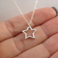 Star Outline Necklace - 925 Sterling Silver