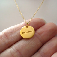 Believe Necklace - 24k Gold Plated Sterling Silver
