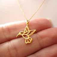 Hummingbird Necklace - 24k Gold Plated Sterling Silver