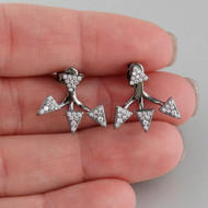 Black CZ Ear Jacket Arrow Earrings - 925 Sterling Silver