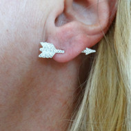 CZ Arrow Earring - 925 Sterling Silver