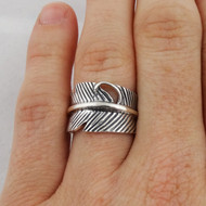 Feather Ring - 925 Sterling Silver - Adjustable
