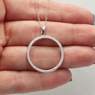 Circle CZ Necklace - 925 Sterling Silver