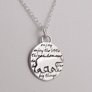 Inspirational Bear Charm Necklace - 950 Sterling Silver