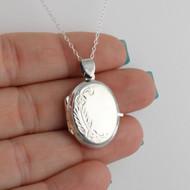 Oval Floral Locket Necklace - 925 Sterling Silver