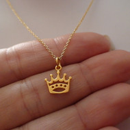 Princess Crown Necklace - 24k Gold Plated Sterling Silver