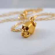 Tiny 3D Skull Charm Necklace - 24K Gold Plated Sterling Silver