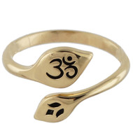 Adjustable Natural Bronze Lotus and Ohm Ring