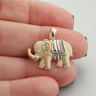 Elephant Pendant - Solid 14k Yellow Gold