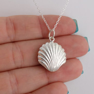 3D Shell Charm Necklace - 925 Sterling Silver