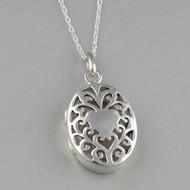 Oval Filigree Heart Locket Necklace - 925 Sterling Silver