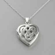 Celtic Knot Heart Locket Necklace - 925 Sterling Silver