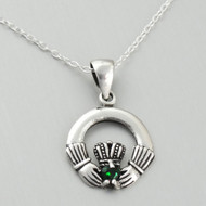 Celtic Claddagh Pendant Necklace - Sterling Silver, Green CZ