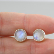 Round Moonstone Post Earrings - 925 Sterling Silver