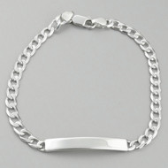 "8"" Sterling Silver ID Bracelet - 5mm Curb Link Chain, Engravable Bar"