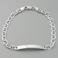 "8"" Sterling Silver ID Bracelet - Flat Marina 6mm Chain, Engravable Bar"
