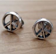 Peace Sign Earrings in Sterling Silver