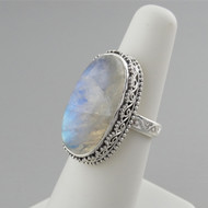 Large Oval Moonstone Filigree Ring - 925 Sterling Silver