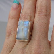 Rectangle Moonstone Ring - 925 Sterling Silver