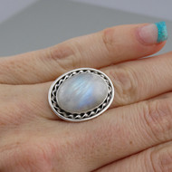Oval Moonstone Ring - 925 Sterling Silver