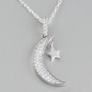 Copy of Sterling Silver Crescent Moon and Star Necklace with CZ