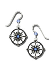 Compass Earrings - 925 Sterling Silver Ear Wires
